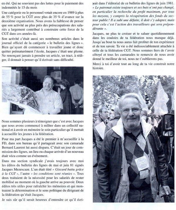JACQUES MEZESCAZES hommage à notre camarade